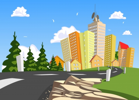 Vector city surrounded by nature landscape. Vector art Stock Vector - 23902716