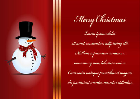 Christmas card. Celebration background with snowman and place for your text. Vector