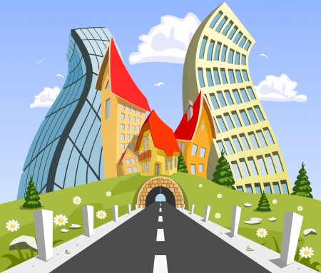 Vector city surrounded by nature landscape. Vector art Stock Vector - 23902717