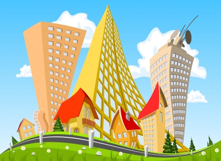 Vector city surrounded by nature landscape. Vector art Stock Vector - 23902722