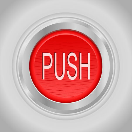 push button: Red round push button bordered by a metallic ring