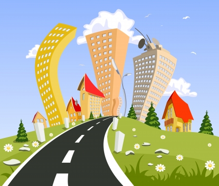 Vector city surrounded by nature landscape. Vector art Stock Vector - 23902724