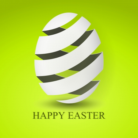 easter card: green Paper card with striped easter eggs Illustration