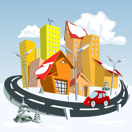 Vector city - winter.  Vector