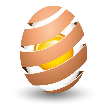 yolk: Abstract egg with yolk on white background Illustration