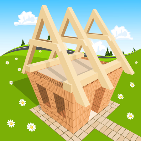 house under construction: Unfinished house on green grass Illustration