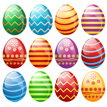 Set of easter eggs, vector illustration Vector