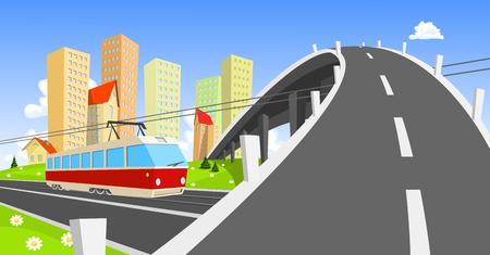 streetcar: Tranv�a viene bajo el puente Vectores