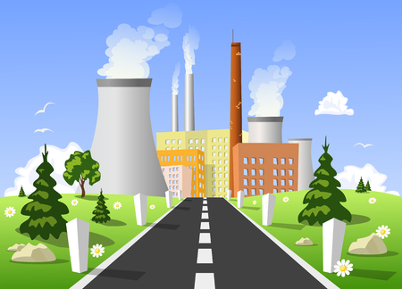 industrial complex: Vector illustration of power plant