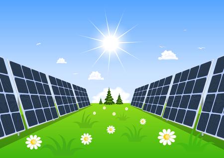 solar collector: Solar panel produces green energy from the sun.