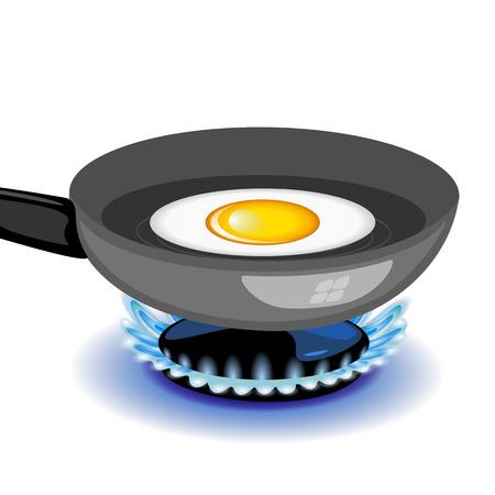 steel pan: Vector de huevo frito en una sartén Vectores