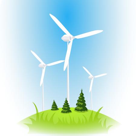 Vector wind power station. Wind turbine against the blue sky Vector