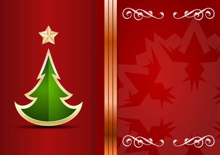 Christmas card. Celebration background with tree and place for your text. Vector