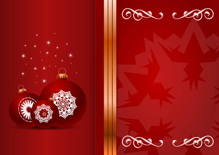 Christmas card. Celebration background with ball and place for your text. Vector