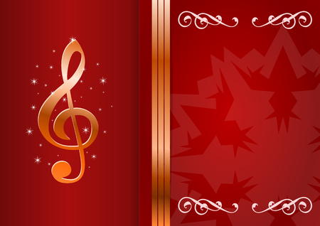 Christmas party card. Celebration background with treble clef and place for your text. Vector