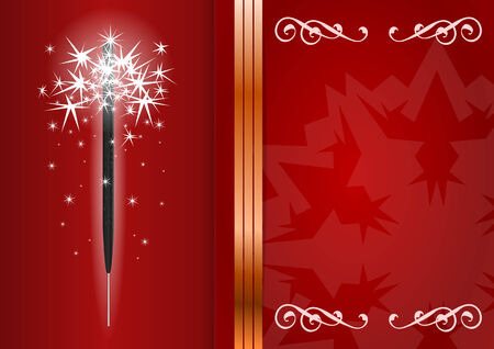 sparkler: Bengal light on red background with copy space for your text