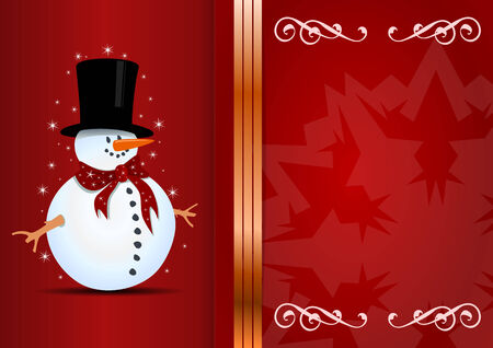 Christmas background with snowman and place for your text. Vector