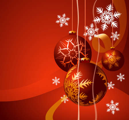 Christmas background with ball and place for your text. Vector