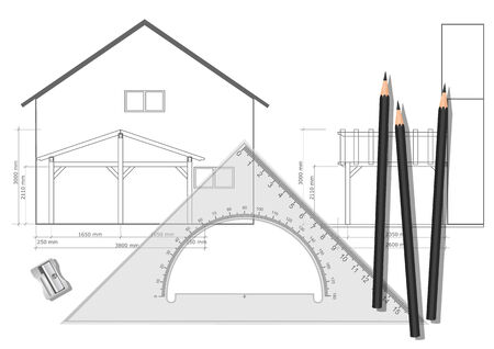 architectural studies: Drawing tools with a drawing in the background Illustration