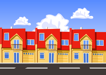 row of houses: Colorful vector city, row building. Illustration