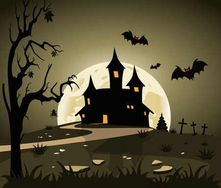 Halloween theme from the castle in the background Vector