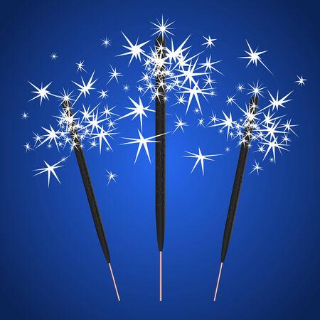 sparkler: Vector three bengal light on blue background