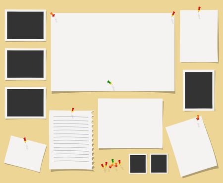 memo board: Vector blackboard with office supplies