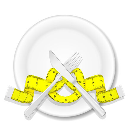 Plate with knife, fork and measure tape Vector