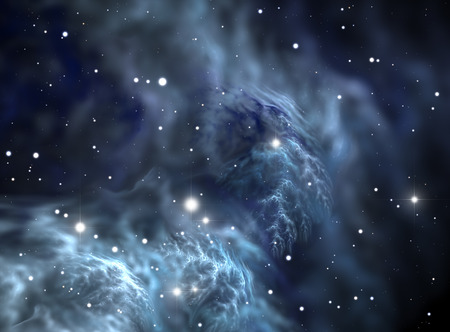 Space background filled with nebulae and stars photo