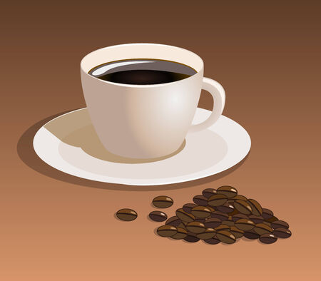 strew: coffee cup with coffee beans