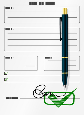 Blank form with signature and pen Vector