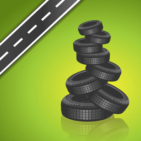 road surface: Vector car tire on green background