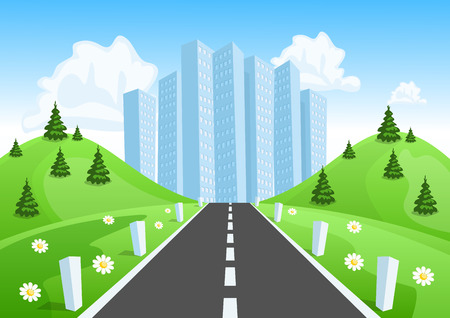 Road through the countryside into the city Vector