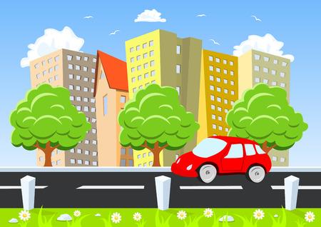Car moving through the city