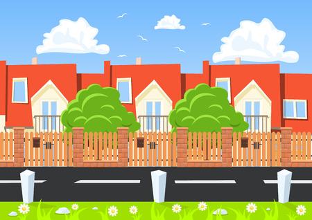 townhouses: Casas del vector en una fila al lado de la carretera