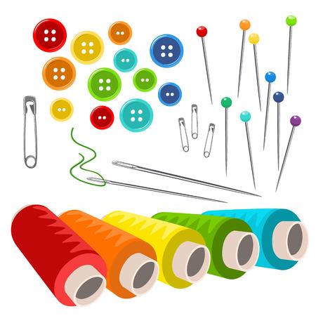 kit de costura: accesorios de costura aislados en blanco