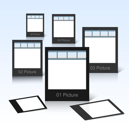 feature films: black photo frames on shiny background