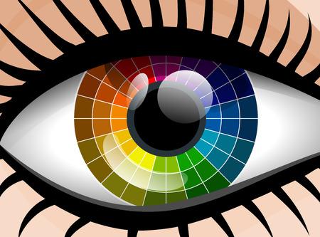 colorful palette woman eye Vector