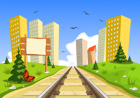 wood railroad: Train route into the city through the landscape