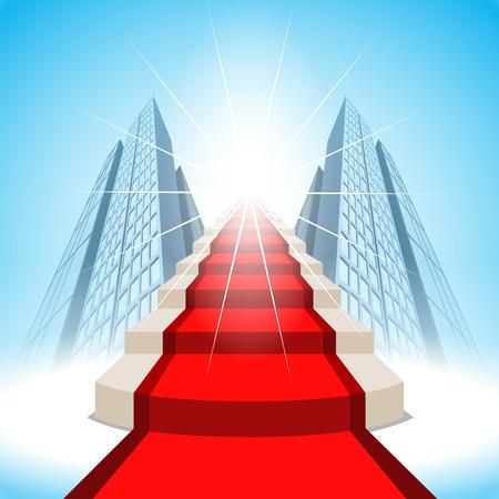 vision futuro: Las escaleras que conducen al éxito.