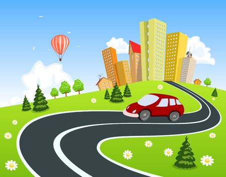 City surrounded by nature landscape with car Vector