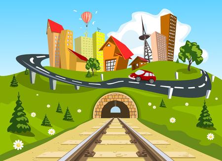 Railroad tracks through landscape to the city