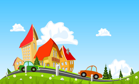 small country town: Car passing by in abstract city