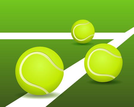 Tennis balls on the court. Vector illustration Vector