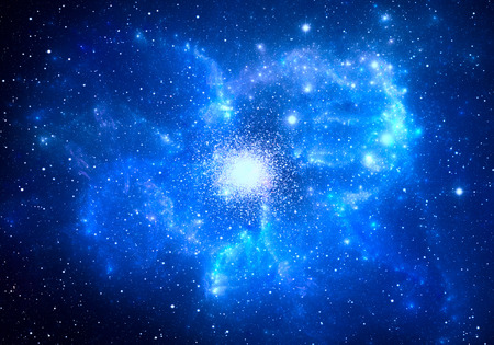 globular: Globular cluster with nebula in the foreground Stock Photo