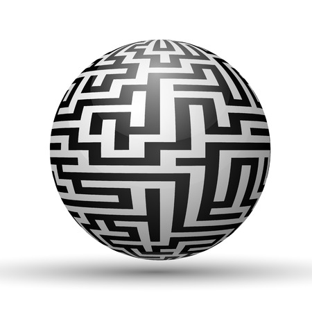 Endless maze with spherical shape, vector illustration