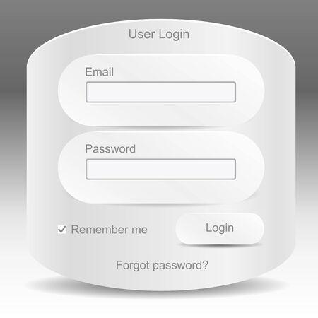 Web elements. Register and login web window Vector