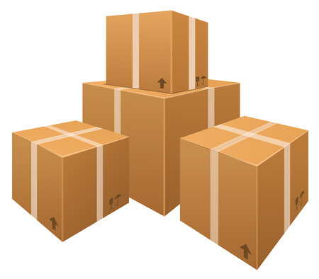 Vector stacks of cardboard boxes isolated on white