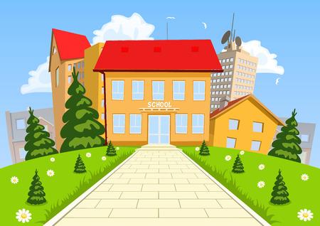 the middle: Vector cartoon modern school building Illustration