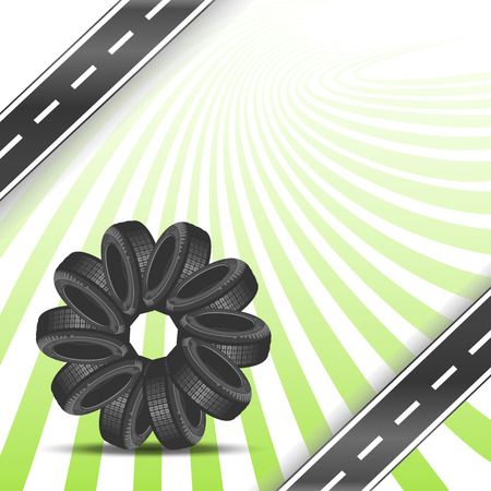 summer tires: Car tires arranged in a circle Illustration